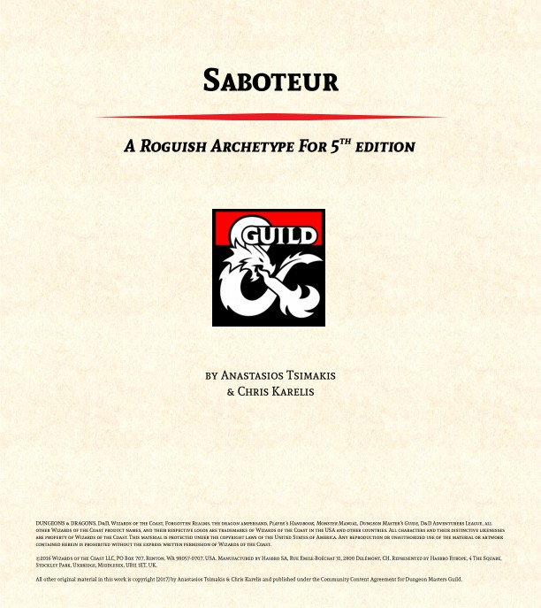 DMs Guild Preview – Rogue Archetype: Saboteur
