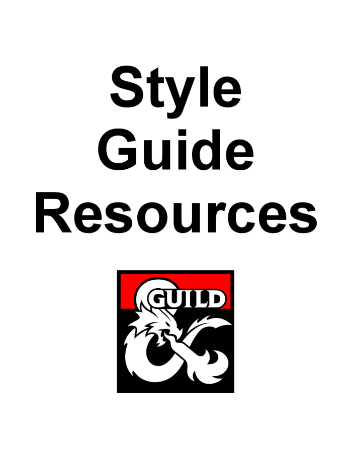 DMsGuild Style Guide Resources